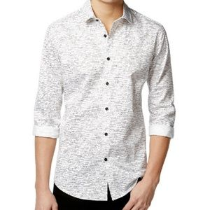 Alfani Slim Craven Dash Print Long Sleeve Shirt